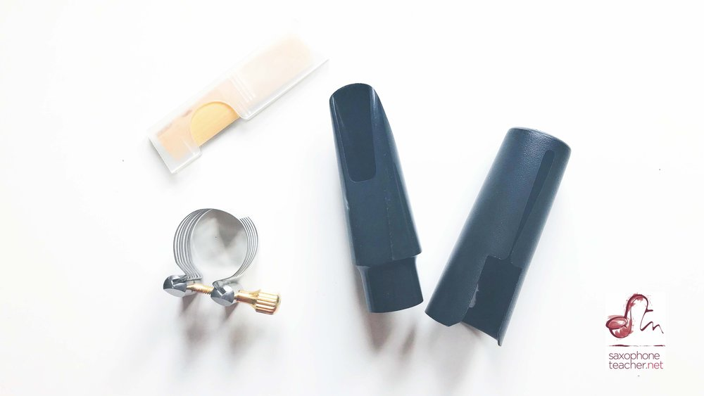Saxophone Mouthpiece consists of the reed, the ligature, the main mouthpiece part and the cap.