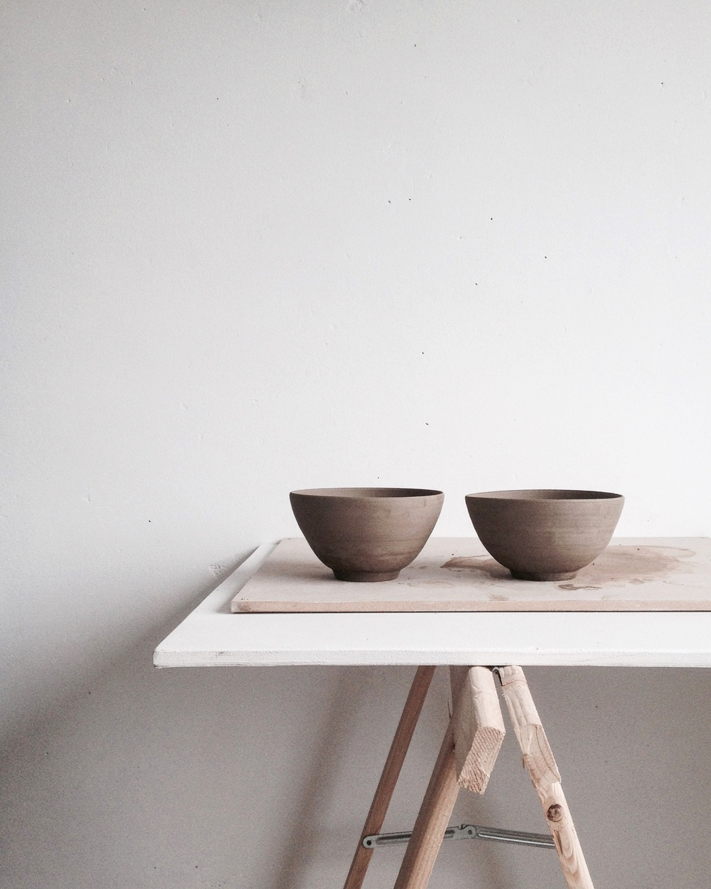 Bowls, dark brown, unfired. Orders available through my Etsy shop or custom made requests;  julyadrichem@gmail.com.