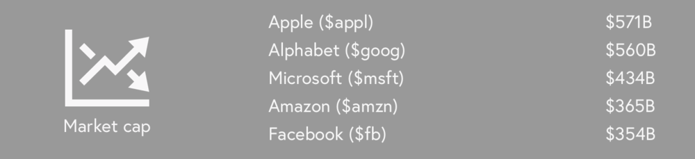 Figure 5: List of of the most valuable US public companies ranked by market cap