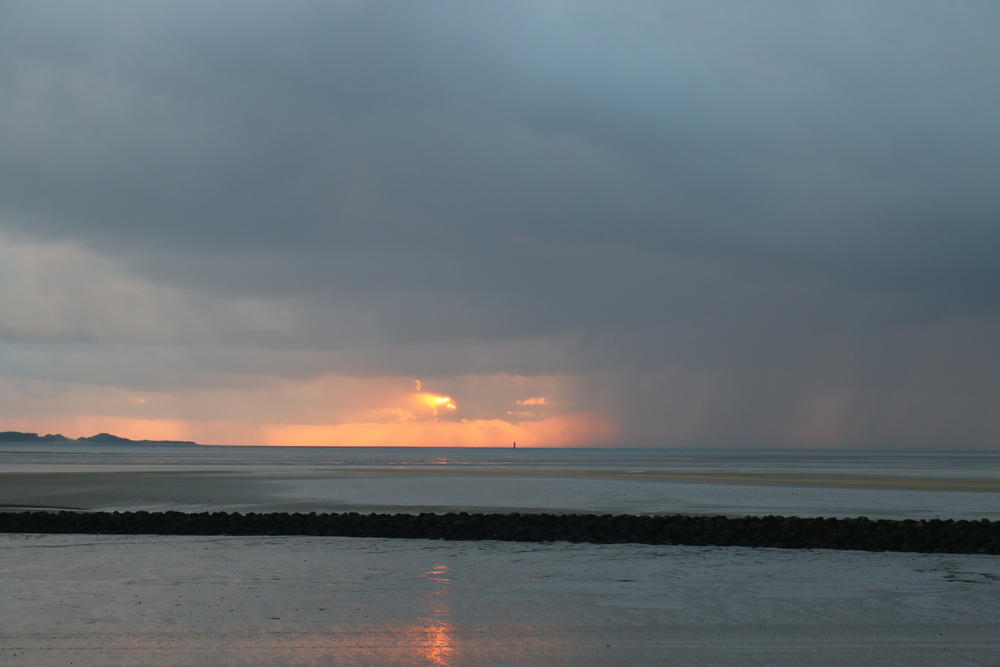 Sunset at Llanelli beach.