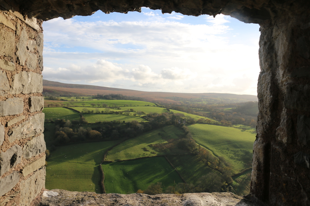 Carreg Cennen Castle: a view towards the Brecon Beacons NP.