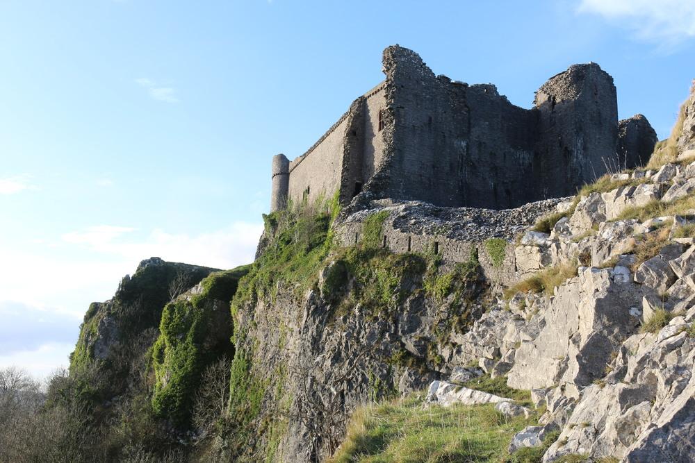 Carreg Cennen Castle: formidable atop a 300 ft cliff.