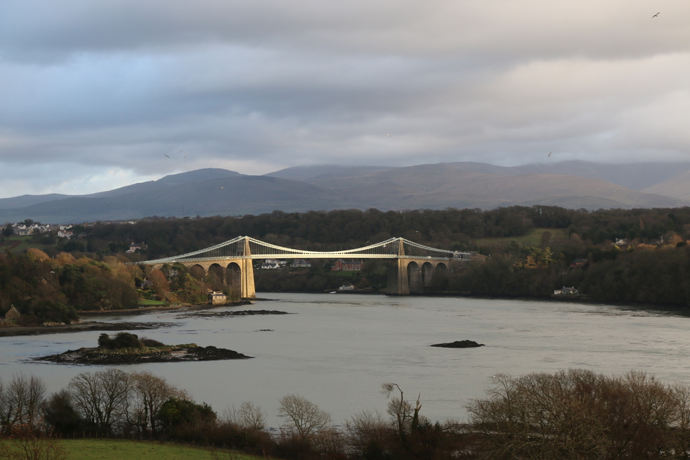 Menai Suspension Bridge: connecting Anglesey to mainland Wales and designed by Thomas Telford.