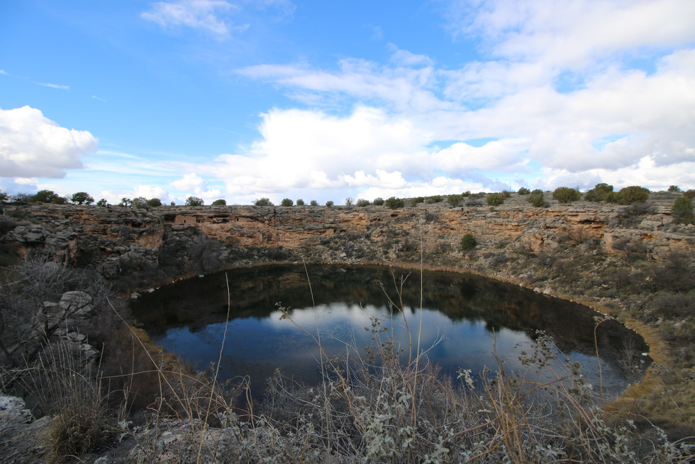 Montezuma Well: the 1,500,000 US gallons of water which emerge here daily takes 10 to 13 million years to flow from the Colorado Plateau.