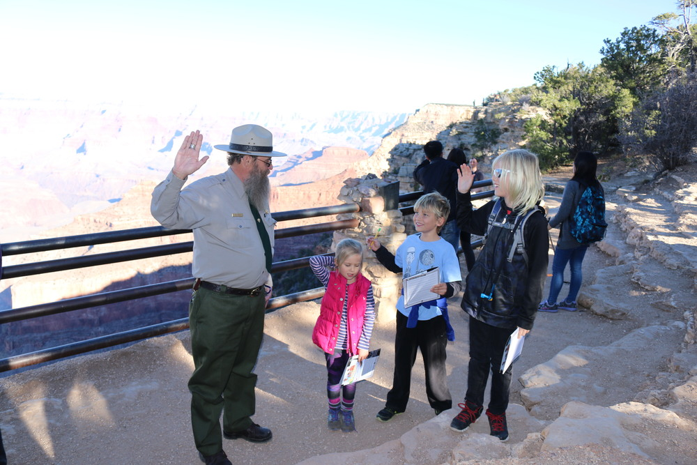 Grand Canyon NP: Ranger Ron leads the children though their Junior Ranger pledge.