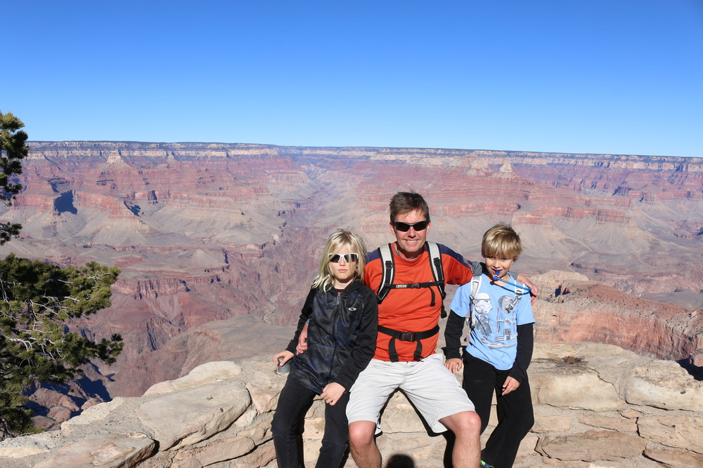 Grand Canyon NP: there's a vertical drop of about 1000' right behind us.