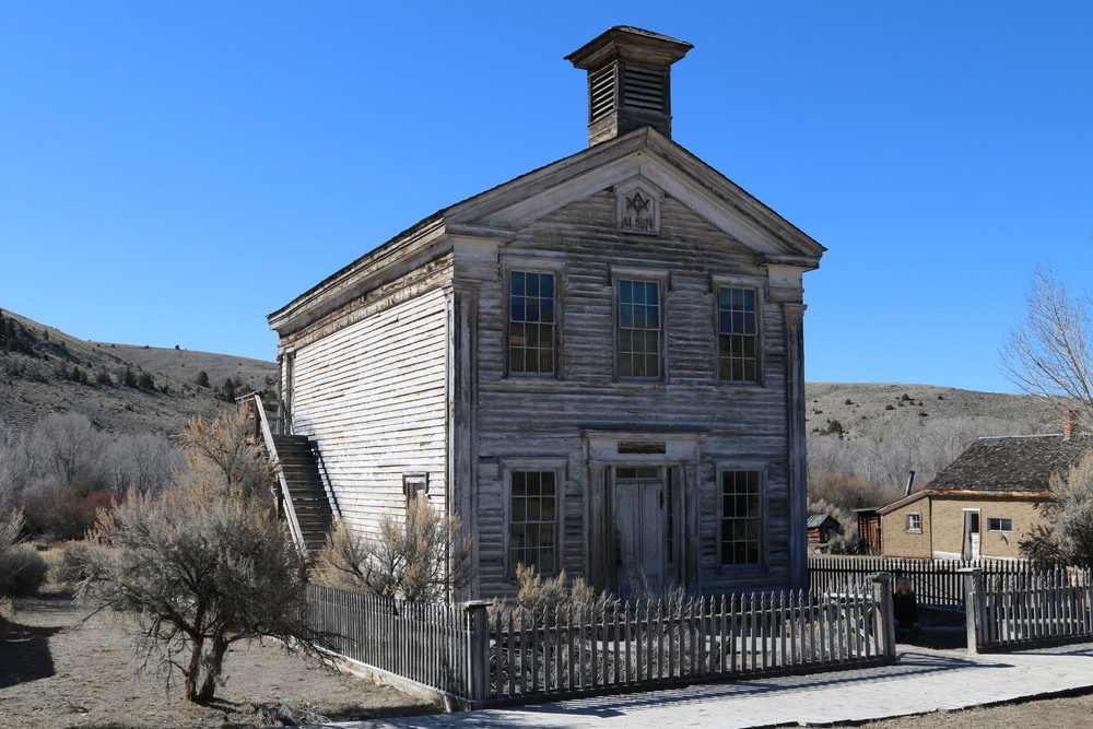 Bannack State Park: Schoolhouse and Mason's Lodge.