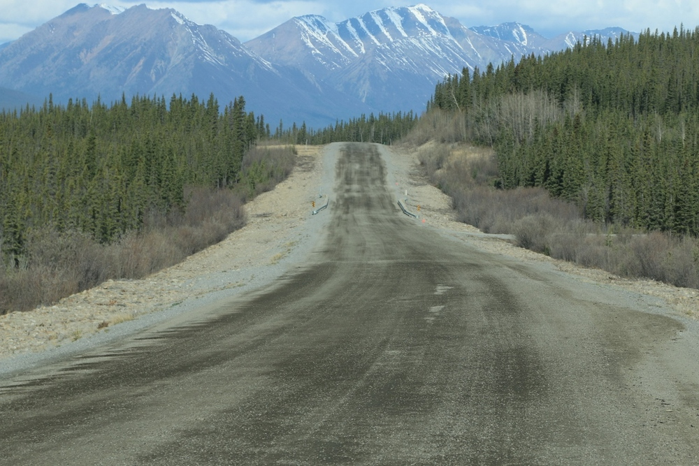 The Alaska Hwy (typical conditions for the last few hundred miles in Canada)