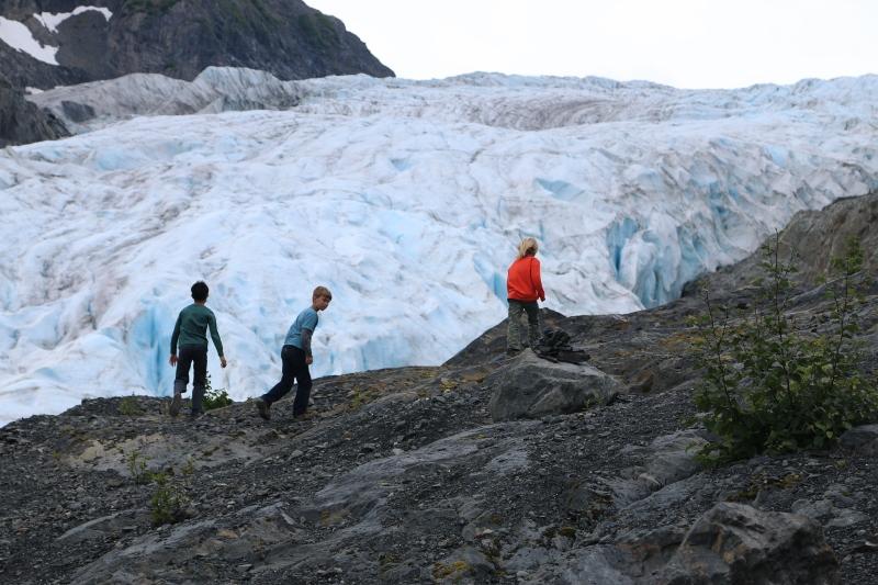 Jayden, Dylan and Rhys at Exit Glacier