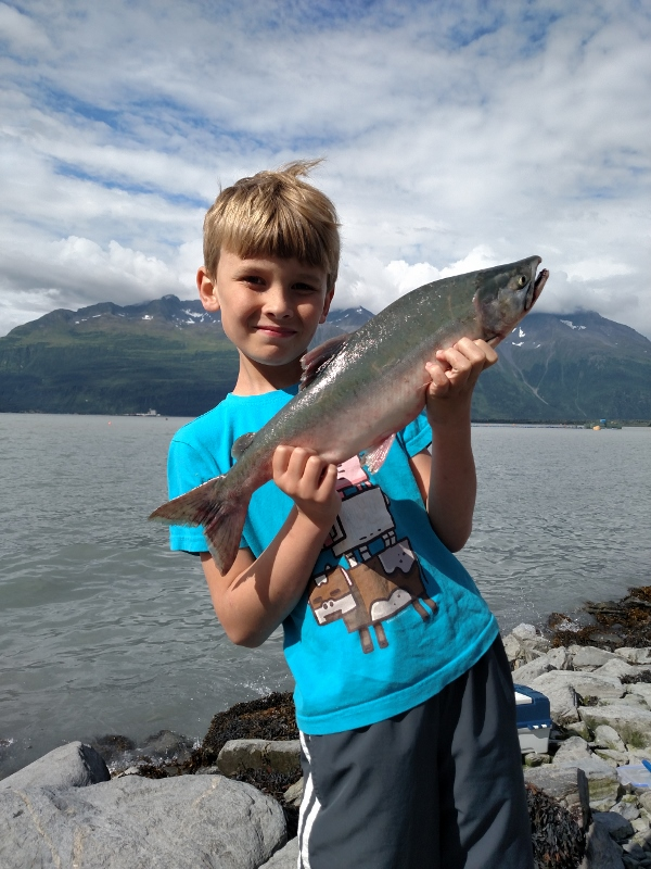 Dylan with his pink salmon