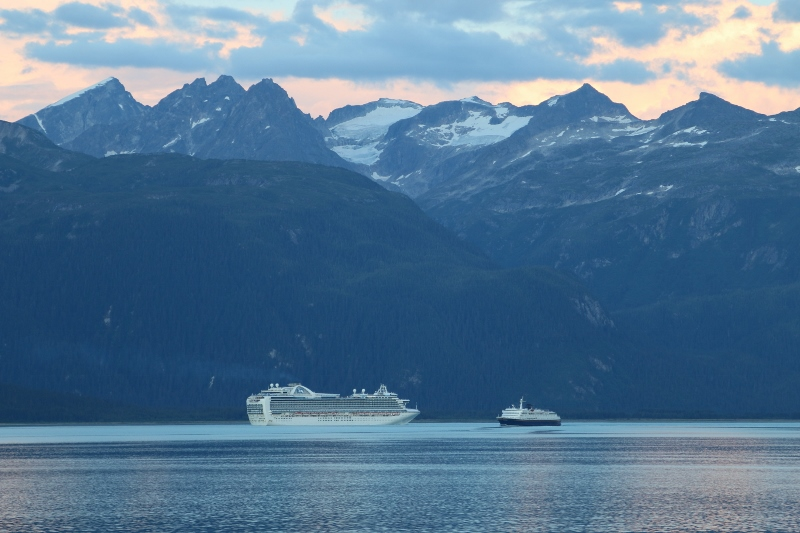 The mighty Columbia ferry dwarfed by a cruiseship