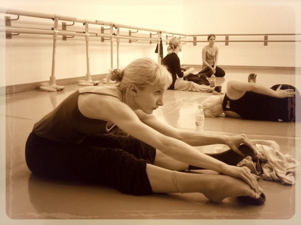 ~ Back in the day getting ready for class at dance college; looking deadly serious...~