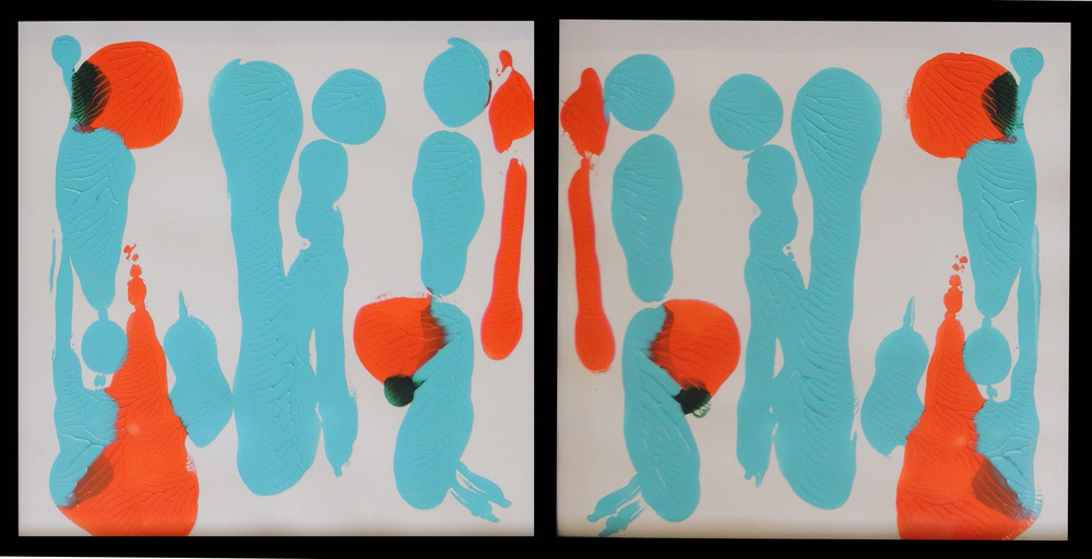 Bluish sound-    Acrylic on paper, t  wo pieces of 12 x 12 inch each,   2013.