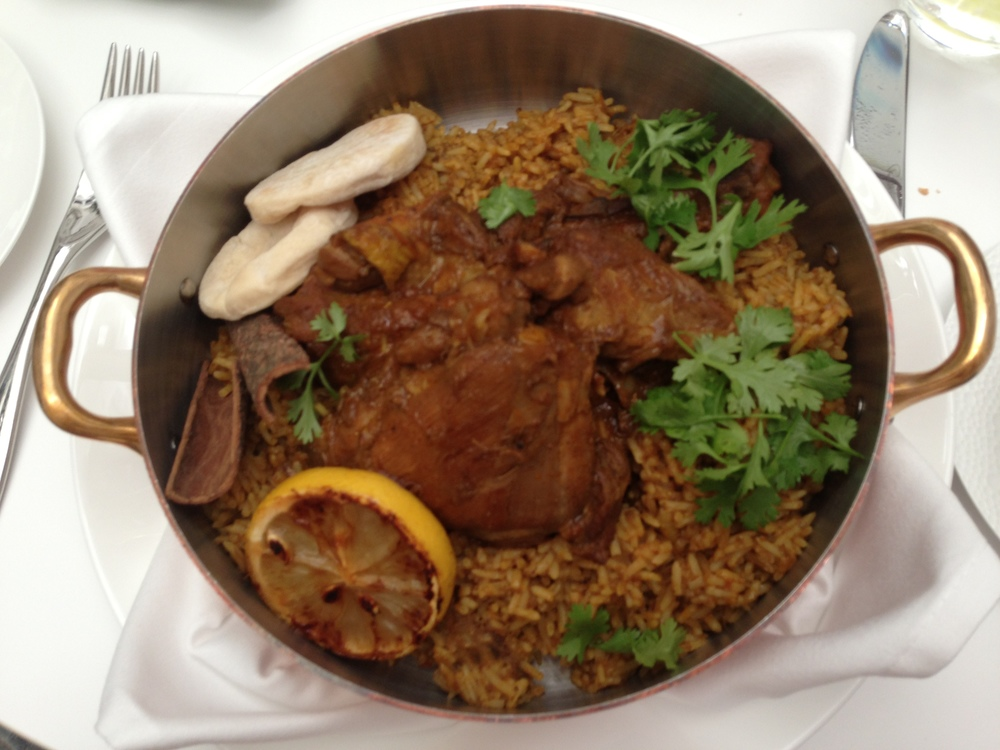 Beautifully flavoured makloubeh: the Arabic version of biryani.