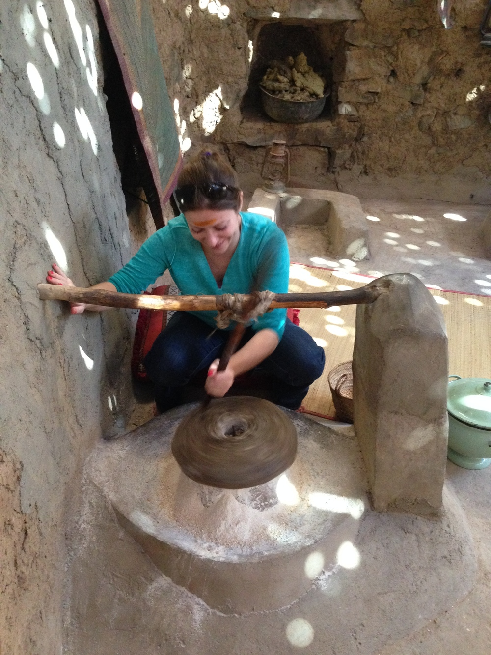 I try the traditional method of grinding grain