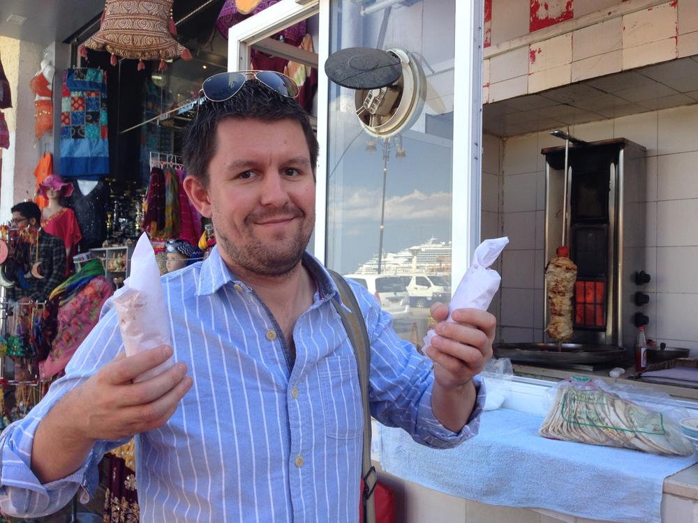 Getting a classic shawarma in Muscat