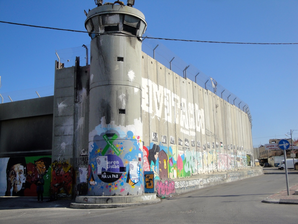 The wall has sprung up between Israeli and Palestinian zones of Bethlehem; with the Palestinians claiming some of their land has been annexed.