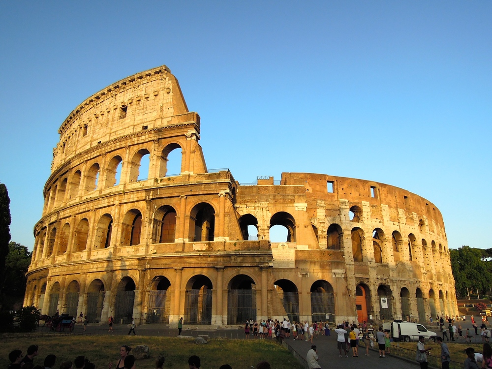 The celebrated Colosseum, in the centre of Rome, was completed in around 80AD after a decade of work, and became a site for bloody gladiatorial contests.