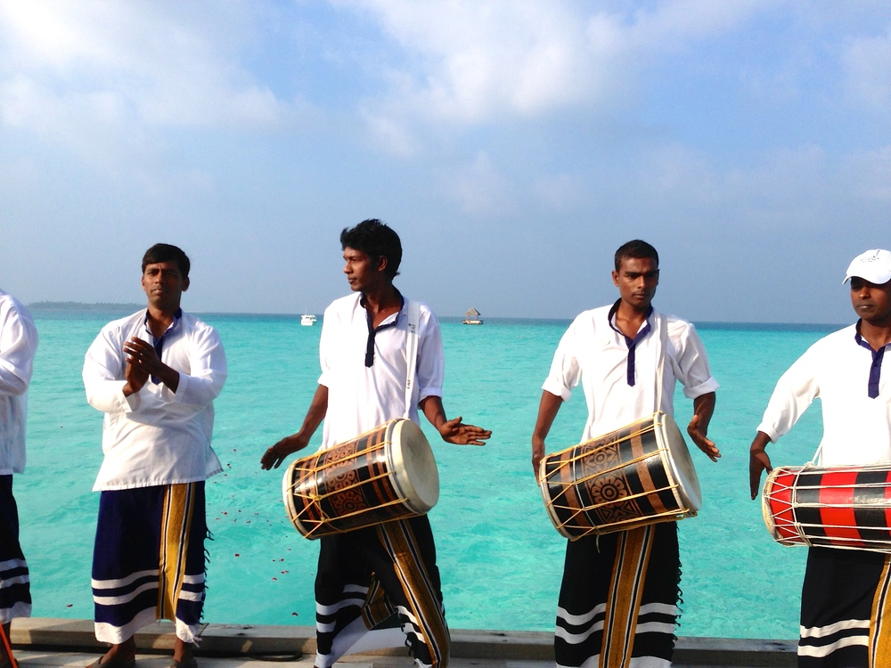The welcome committee at Taj Exotica Resort and Spa.