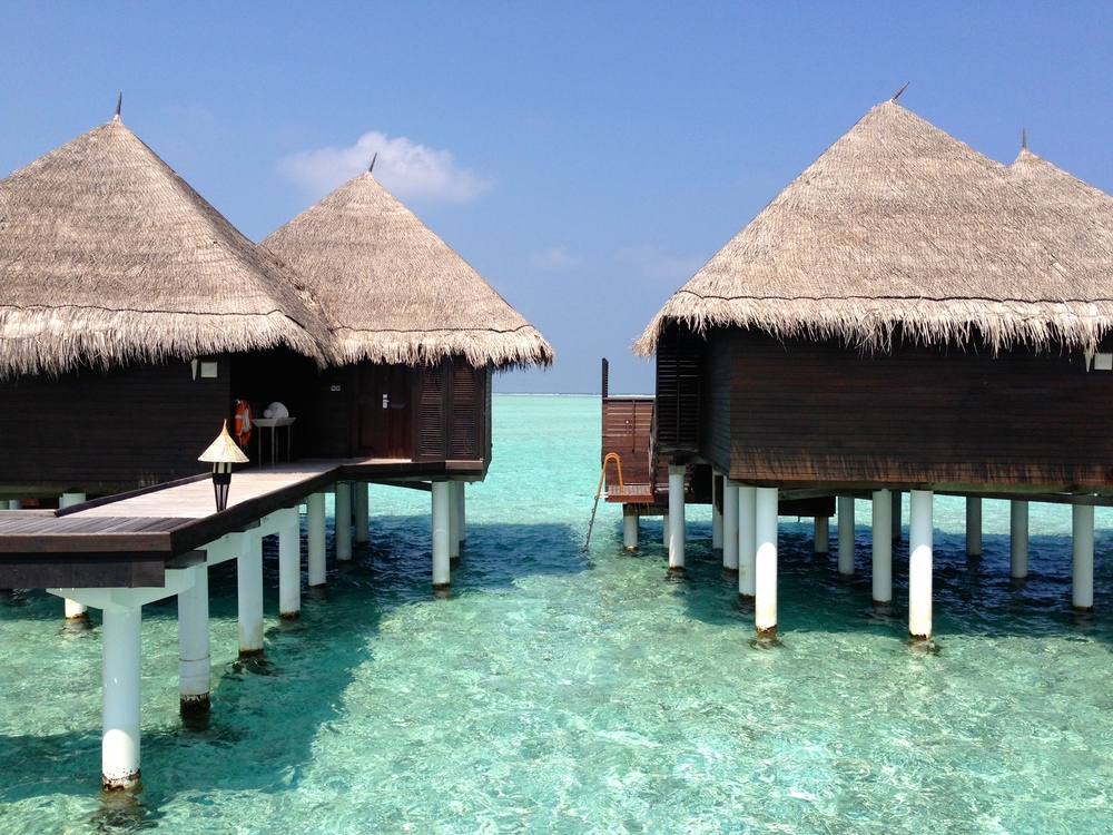 The traditional Maldivian over-water villas at Taj Exotica.