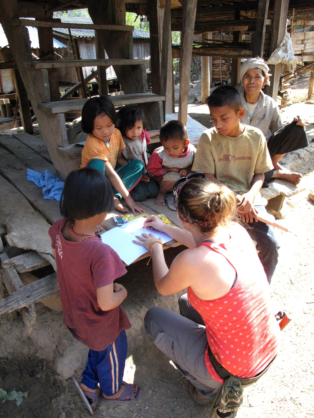 Colouring in with kids at one of the remote hill villages north of Chiang Mai.