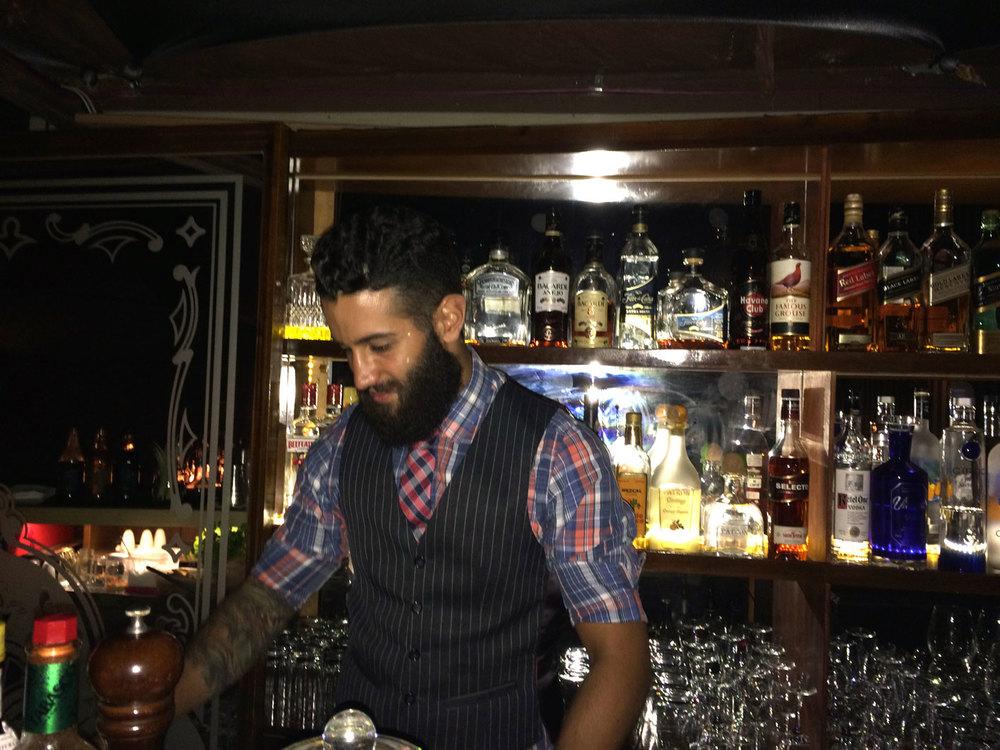 Carlos the barman, whipping up a Sazerac