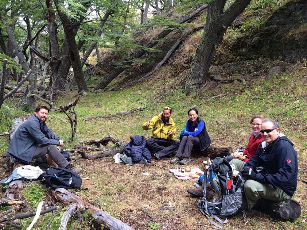 Group trekking with Tierra Patagonia