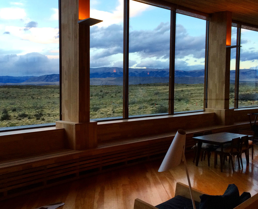 The lobby view at Tierra Patagonia
