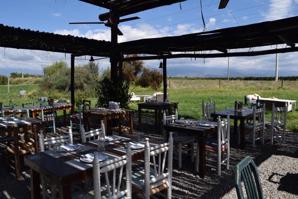 The garden restaurant at La Azul