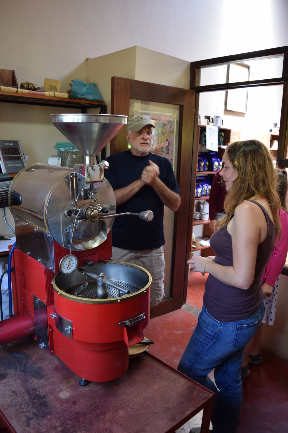Learning how to roast coffee beans.