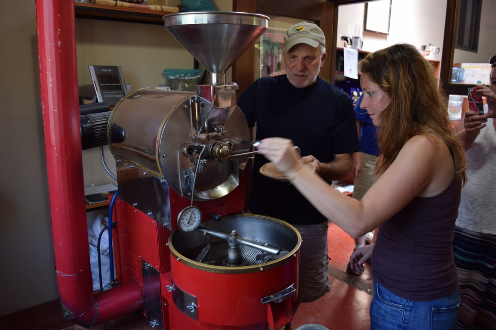 Testing the beans as they're heated through in the drum.