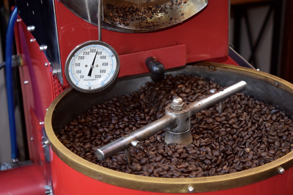 Collecting the spoils of my roasting efforts!