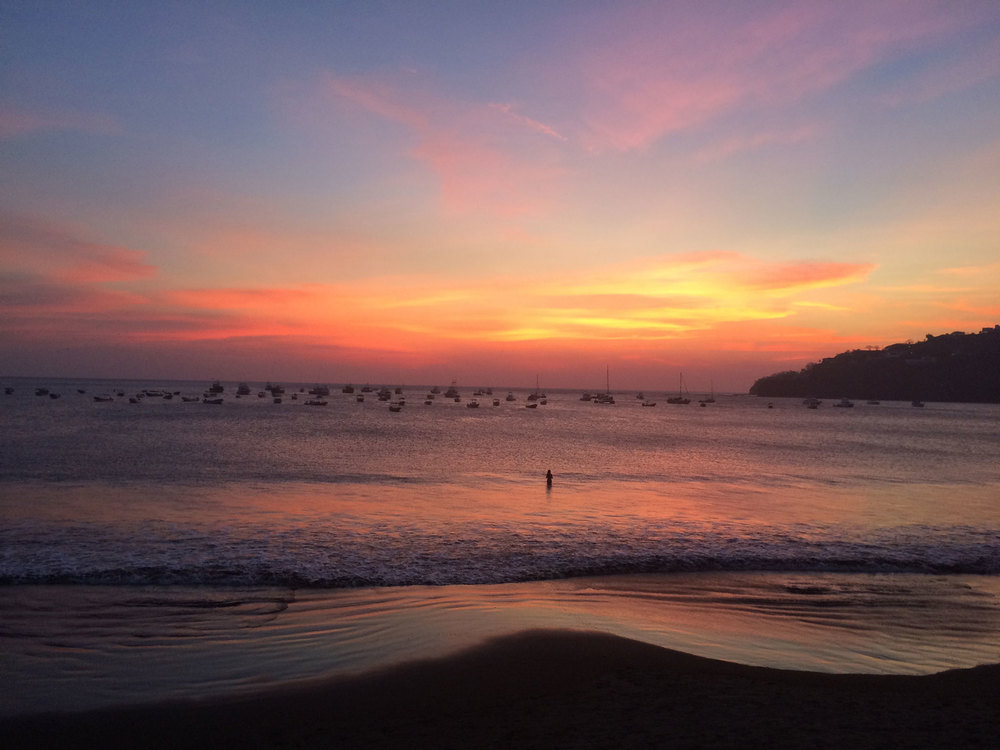 Sunset over the surfer's paradise of San Juan del Sur