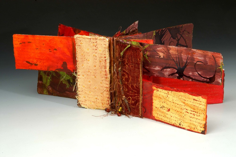 "Detail:   Crossing Paths  , MaryLea Harris, Mixed-Media book with Branch, 6"" x 9"""