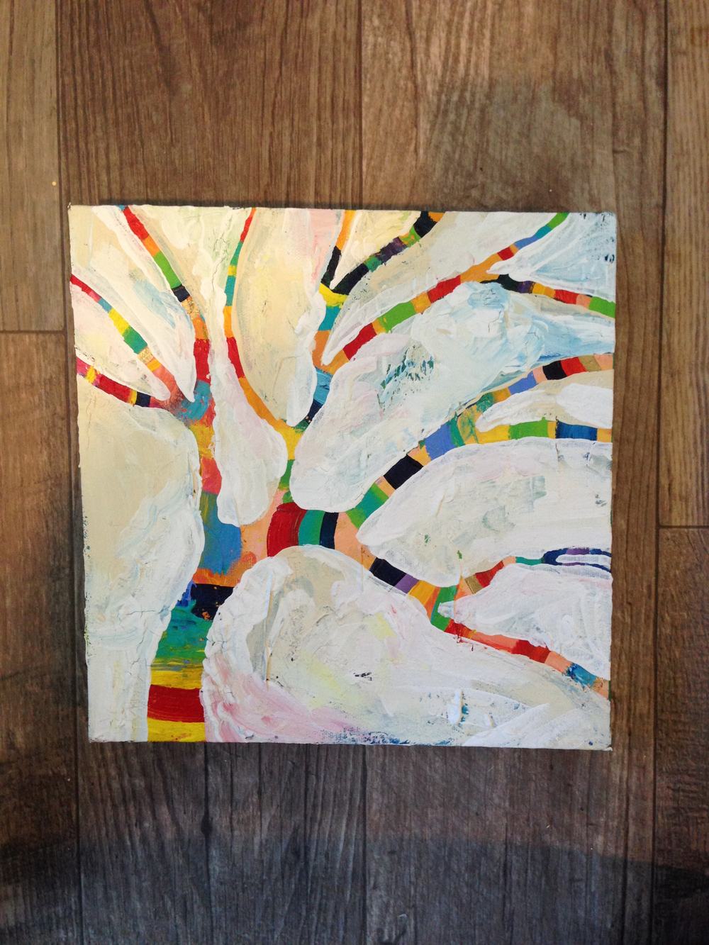 "Happy Little Trees 2 Acrylic on Canvas, 10""x10""  by MaryLea Harris, 2014 (SOLD)"