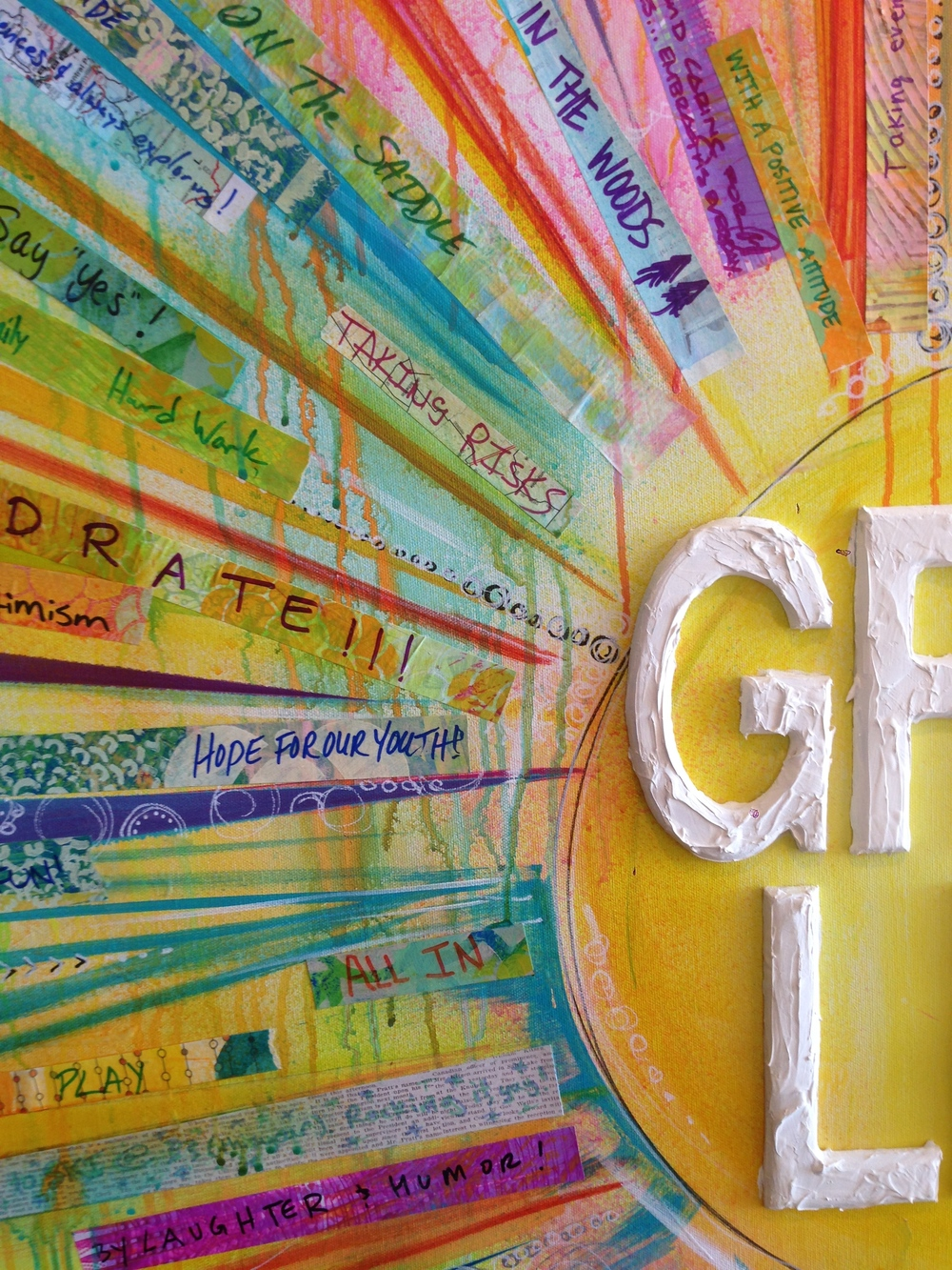 "Close-up detail of the ""Grab Life"" painting I created for BOUNCE at TEDxBend 2015"