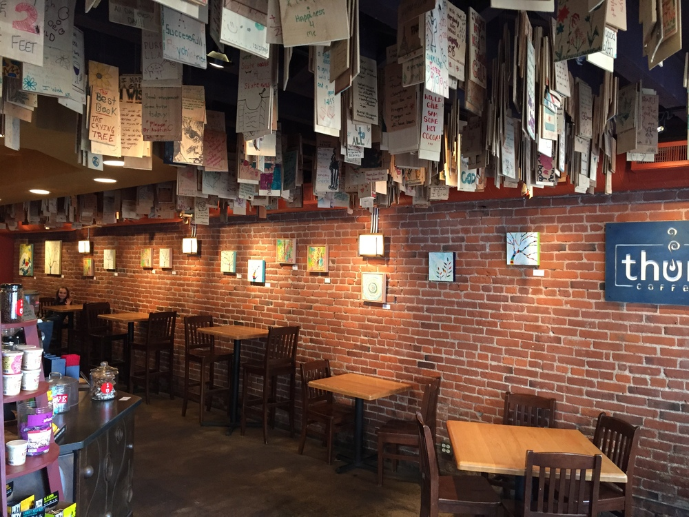 THUMP is a fun place to grab a cup if you're visiting Bend. Decorate a wood tile for the ceiling installation art piece!