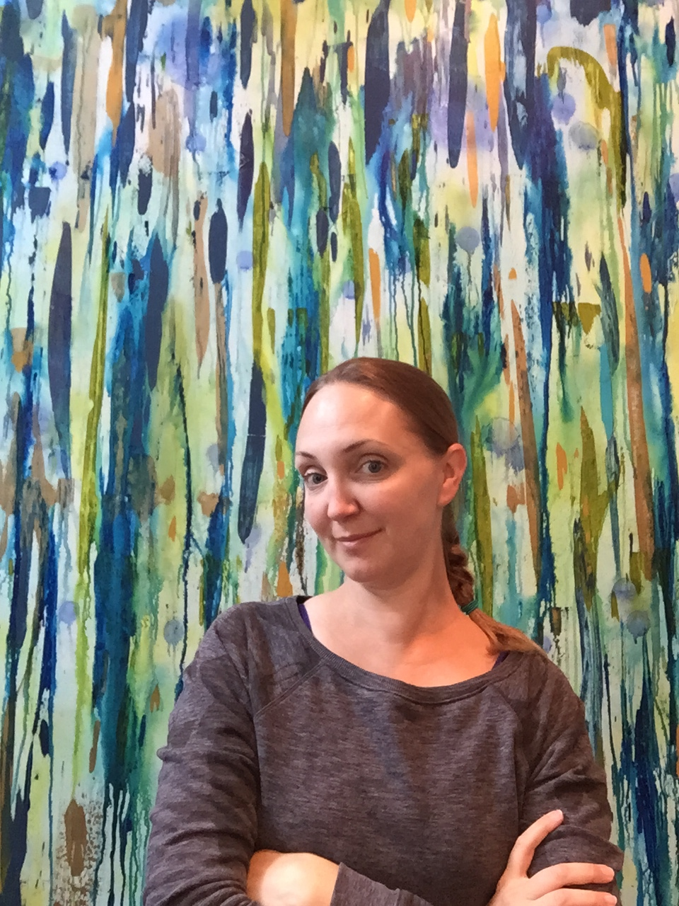 "MaryLea Harris with her painting ""Anticipation"" 2015"