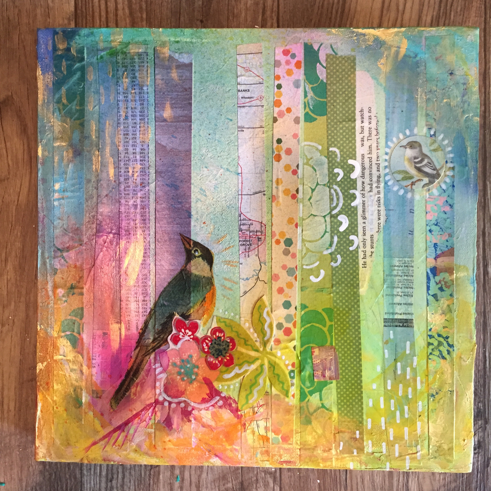 Bird 3 Mixed Media 2015 by MaryLea Harris (SOLD)