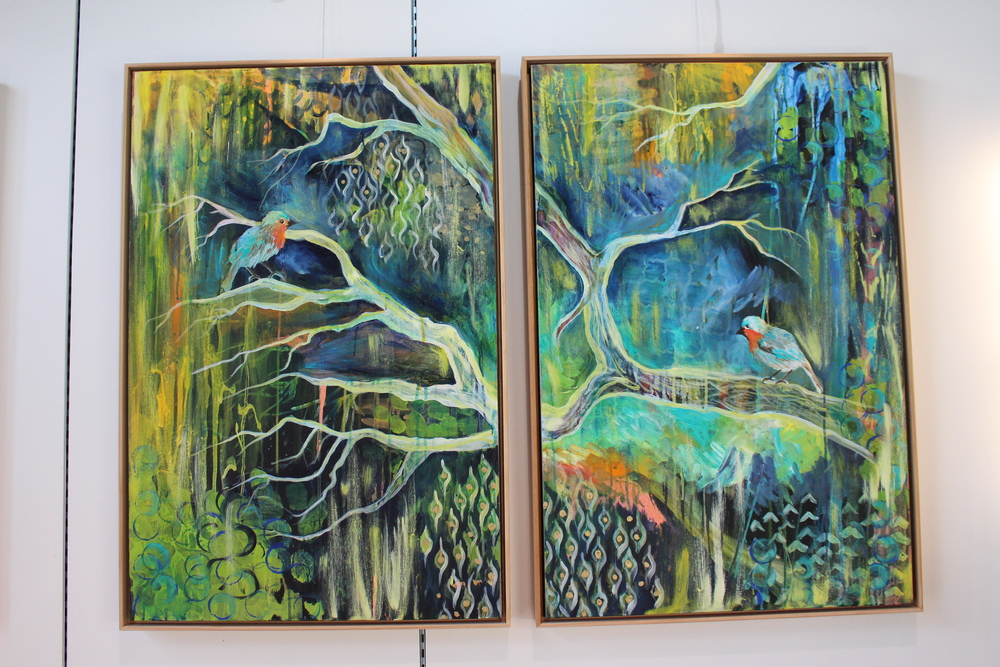 """Put A Bird On It"" 2014 Diptych by MaryLea Harris 36 "" x 48"""