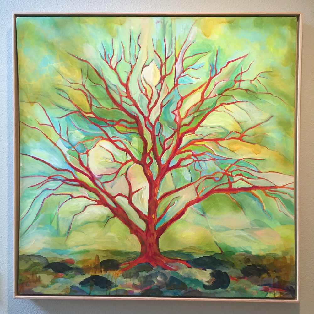 """Fiona's Apple Tree"" 2015, MaryLea Harris 36' x 36"" Sold Private Collection, Bend, Oregon."