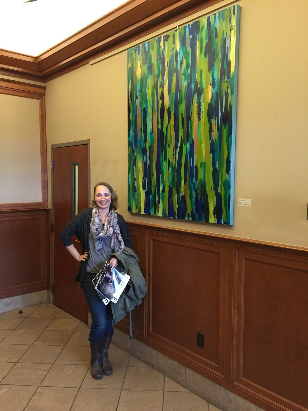 Saying Hello to my big painting at Franklin Crossing. Does this painting make me look short?
