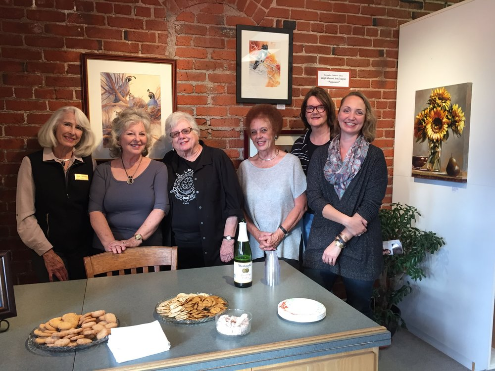 Hanging with my High Desert Art League lady friends at our reception! L-R Joren Traveller, Vivian Olsen, Pat Clark, Barbara Slater, JM Brodrick, MaryLea Harris