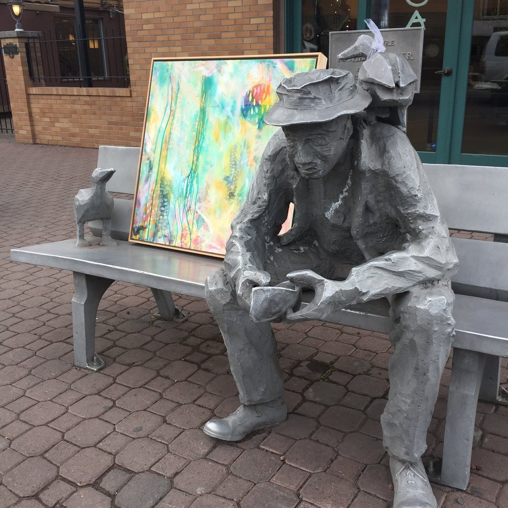 ARTstatuewithMaryLeaHarrisArtworkDowntownBend