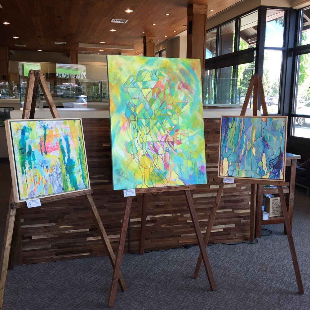 I love the big easels at Bend Premier Realty, they're such a bold (and EASY!) way to show work!