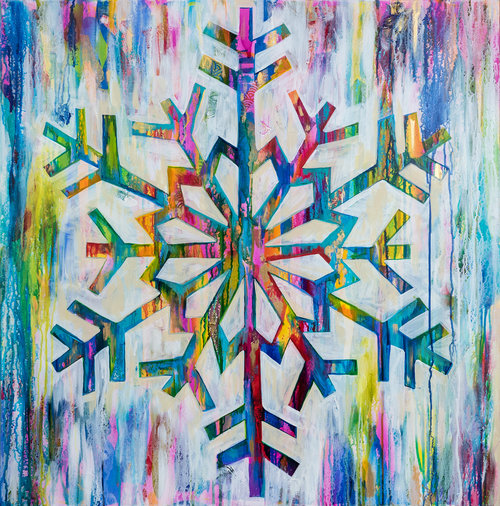 Leave It All On The Canvas Snowflake Series Original Mixed Media