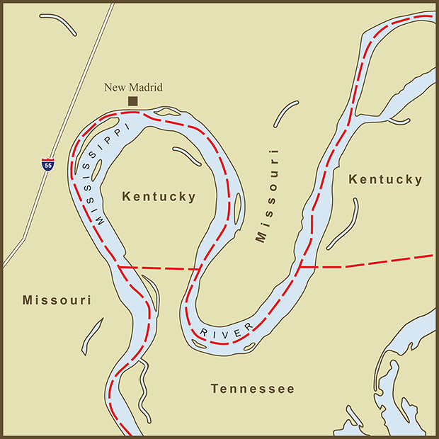 Kentucky-Missouri, New Madrid Bend Map.png
