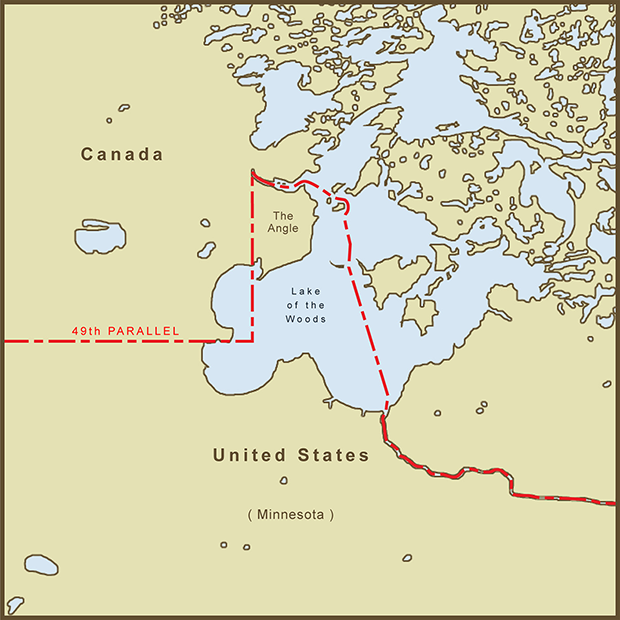 Canada-USA, Northwest Angle Map.png
