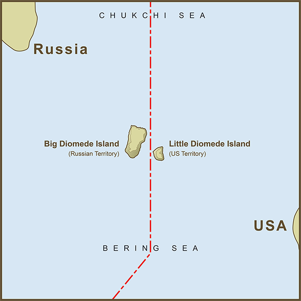 Russia Us Border Map A Map of the USA / Russia Border as it Passes Between the Diomede