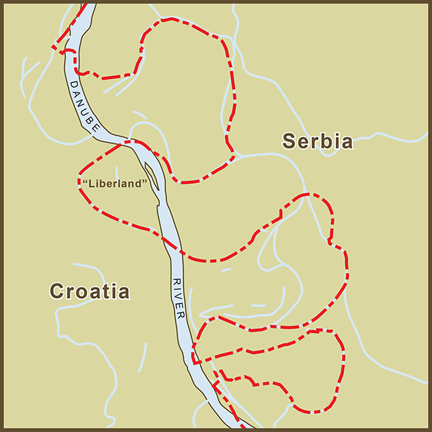 Croatia-Serbia, Liberland Map.png